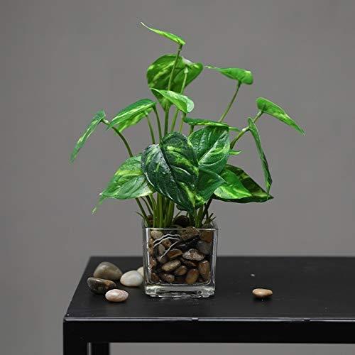 XYLZJ Mini Plantas Falsas Frondosas En Macetas De Vidrio Accesorios De Bonsái En Maceta Artificial Decoración Jardín Hogar Rábano Verde
