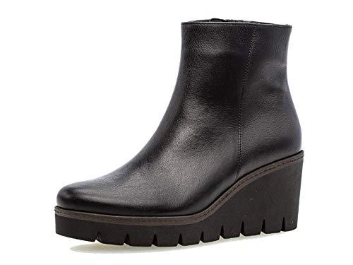 Gabor Damen Stiefelette/Röhrli 34.780, Frauen Keilstiefeletten,Stiefel,Boots,Halbstiefel,Wedge-Bootie,hoch,schwarz (Cognac),40 EU / 6.5 UK