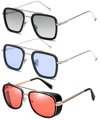 SHEEN KELLY Tony Stark Sonnenbrille 3er Pack - Vintage Sonnenbrille mit quadratischem Metallrahmen für Herren Damen , mit Spider-Man-Brille und Edith-Sonnenbrille IRON MAN TONY Stark 3