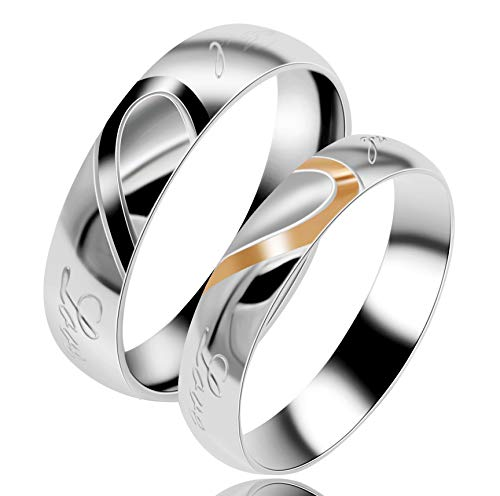 Uloveido Female Real Love Wedding Bands Sets Marching Heart Rings Stainless Steel Comfort Fit Matching Promise Rings for Couples (Size S)