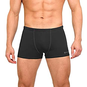 BALEAF Men s Athletic Swim Jammers Quick Dry Durable PBT Square Leg Briefs Training Swimsuit Boxer Black S