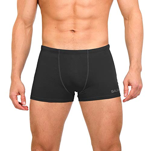 BALEAF Men's Athletic Swim Jammers Quick Dry Durable PBT Square Leg Briefs Training Swimsuit Boxer Black S