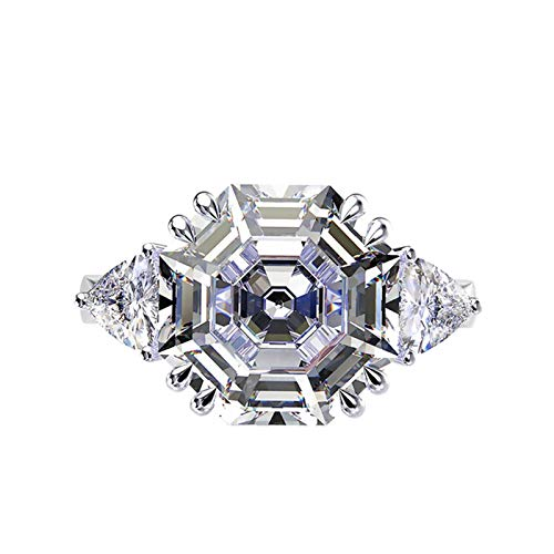 Gnzoe S925 Silver Ring for Women Asscher Cut White Cubic Zirconia Engagement Ring White Size J 1/2