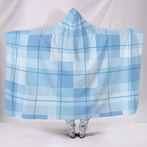 AXGM Manta con capucha para niños y niñas, diseño de tartán escocés, color azul, manta con capucha, forro polar rojo coral, para el salón, blanco, 130 x 150 cm