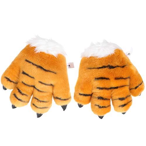 TOYANDONA 1 par de Guantes de Garra de Animales de Peluche Guantes de Garra Peluda Guantes de Lobo Lobo Accesorios de Disfraz Amarillo