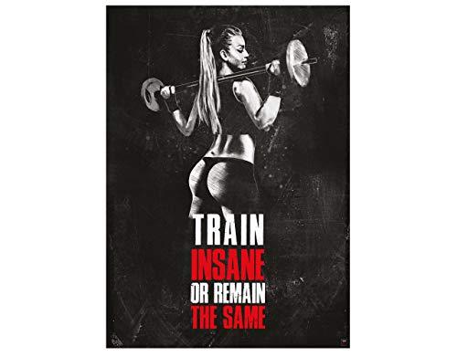 GREAT ART Poster motivacional 59.4 x 42 cm - formato A2 póster de fitness con citas motivacionales - train insane or remain the same - no.11