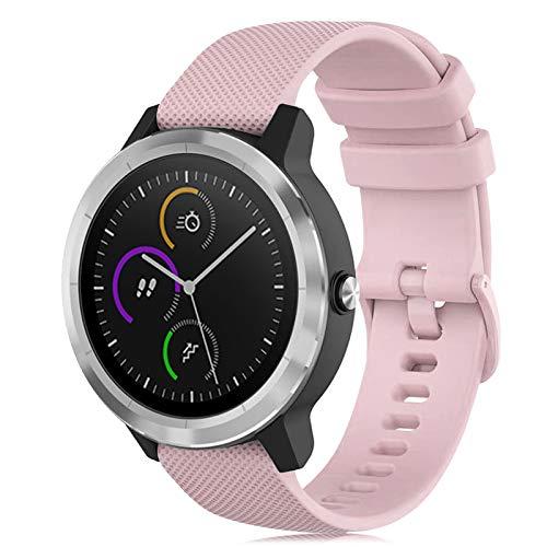 Onedream Armband Kompatibel mit Garmin Vivoactive 3 Vivomove, Sport Watch Straps Ersatz Armband Silikonarmband Uhrenarmbänder Zubehör 20mm für Damen und Herren, Rauchiges Rosa (Keine Uhr)