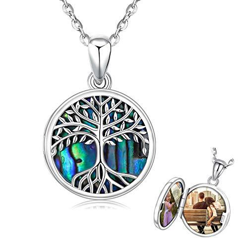 Collana con medaglione albero della vita da donna, argento, ciondolo albero genealogico con conchiglie di conchiglie di abalone, collana con foto per uomo, donna, catena da 18 pollici gioielli regali