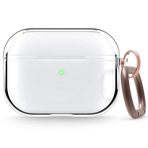 elago Clear Case Durchsichtige Hülle mit Karabiner Kompatibel Apple AirPods Pro – Hochwertiger TPU, Verhindert Gelb zu Werden, Schmierfrei [Passform Getestet] (Transparent)