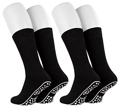 Tobeni 2 Paar Home Socks ABS Stoppersocken Anti-Rutsch Baumwolle Socken für Damen & Herren Farbe Schwarz Grösse 39-42