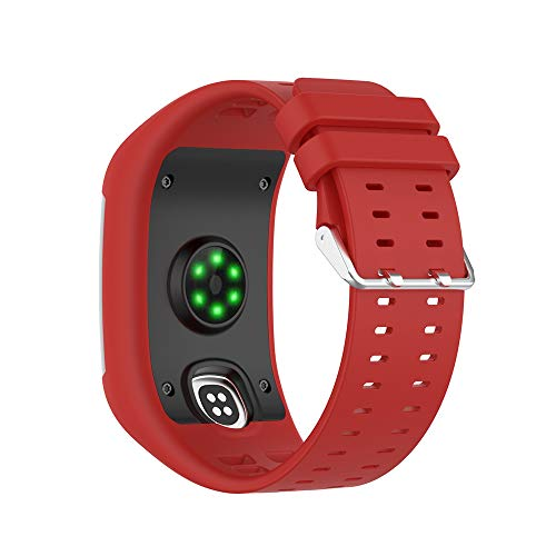 KINOEHOO Correas para relojes Compatible con Polar M600 Pulseras de repuesto.Correas para relojesde siliCompatible cona.(rojo)