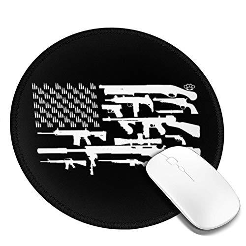LQKSSLBO Redondo Alfombrilla De Ratón Segunda Enmienda Bandera De Estados Unidos, Alfombrilla Gaming, Base De Goma Antideslizante para Gamers, Pc Portátil Mouse Pad, 20cm