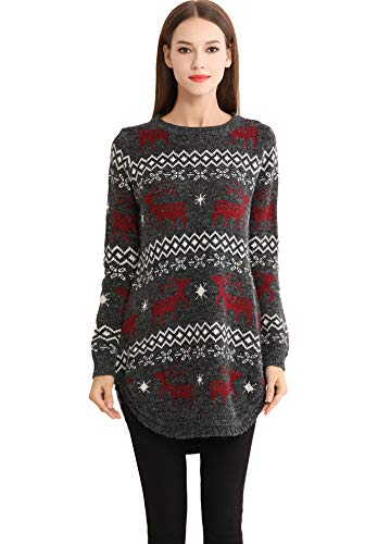 Shineflow Women's Reindeer Snowflake Midi Christmas Pullover Sweater Jumper (XL, Black)