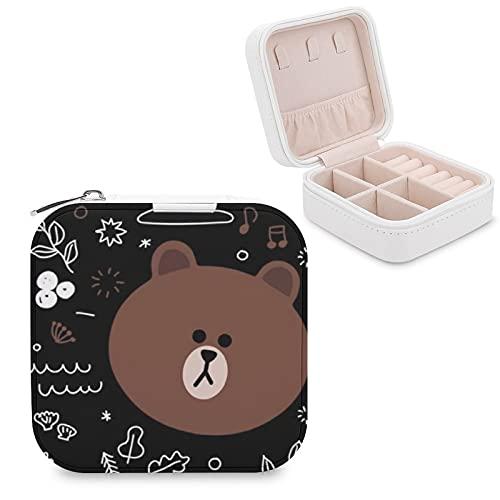 Kumamon - Caja de almacenamiento portátil de piel sintética de viaje, utilizada para guardar pequeños anillos de joyería, pendientes, collares