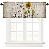 Curtain Valance for Windows Rustic Sunflower Window Toppers Valances Rod Pocket Window Treatments 1 Panel My Sunshine Retro Letter Short Curtains for Kitchen Bathroom Bedroom 54 x 18 inch