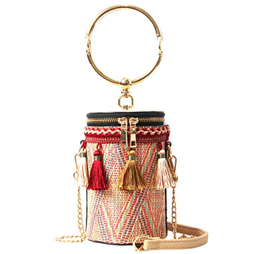 Tassels woven bucket shape crossbody bag, Womens faux leather drawstring bucket design ,Package with tassel for women,Metal bar women chain strap handbag, Suitable for leisure Time,Shopping Etc.