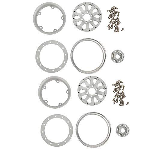 Aumente la Estabilidad RC Wheel Hub RC Car Wheel Estilo 1/10 RC(Silver White A)
