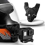 Motorcycle Helmet Chin Strap Mount with Non-Slip & Shockproof Design for GoPro Hero 9, 8, 7, (2018), 6 5 4 3, Hero Black, Session, Xiaomi Yi, SJCAM (Black)