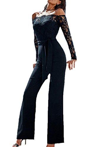 Jumojufol Frauen Elegant Schulter Ab Spitzen Lange Overalls Rompers Mit Gürtel Black M