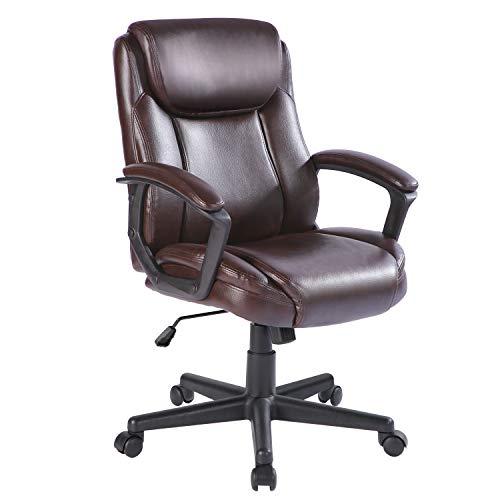 Qulomvs Bürostuhl mit Federkissen, mittlere Rückenlehne, Chefsessel mit Armlehnen, PU-Leder, 360 Grad drehbar, mit Rollen, Lendenwirbelstütze (braun)