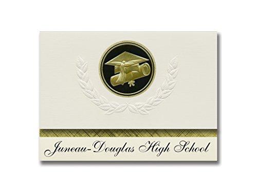 Signature-Ankündigungen Juneau-Douglas High School (Juneau, AK) Abschlussankündigungen, Präsidential-Stil, Elite-Paket mit 25 Kappen und Diplom-Siegel. Schwarz & Gold.