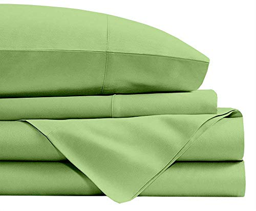 3 PC Set (1 Fitted Sheet and 2 Pillow Cover) 100% Long Staple Egyptian Cotton, 450 Thread Count, 30 CM Deep Pocket of Fitted Sheet, Bedding Set, Soft Sateen Bed Set -Sage Solid King Single Size