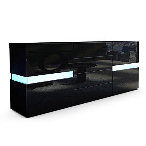 Credenza moderna Vera, mobile nero con led