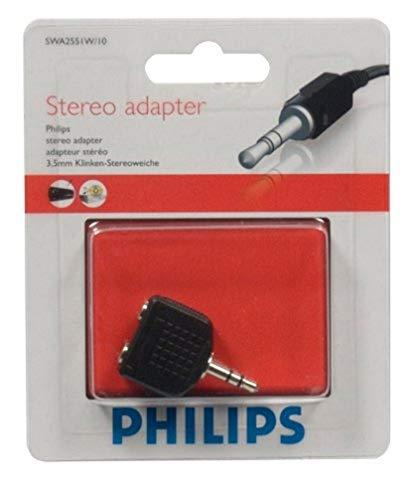 Philips SWA2551W - Adaptador estéreo 2/1 para auriculares (3.5 mm), negro
