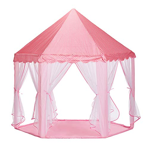 NHR 140 x 140 x 135 cm Portable and Foldable Polyester Tent with Transparent Walls for 3- to 6-Year-Old Kids (Pink)