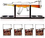 Set di decanter di whisky della pistola, comprende occhiali da whisky e base in legno, regali per papà perfetti, per bourbon, scotch, liquore, ecc., 800 ml, 4 set di vetro, a