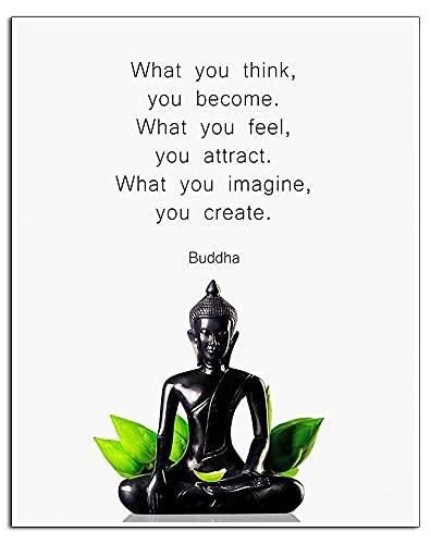 IXMAH Buddha Quotes Wall Decor - Inspirational Quote Wall Art - Zen Meditation Decor - Buddha Statue Wall Art - Yoga Wall Art - Spiritual Gifts for Women, Men - Buddhism Buddhist (Buddha-A,8x10 in Unframed)…