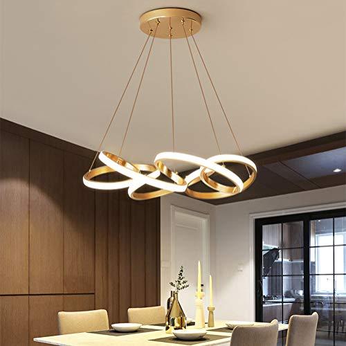 Pendelleuchte LED Dimmbar Esstisch Hängelampe Wohnzimmerlampe mit Fernbedienung Deckenleuchte Gold 65W Landhaus Stil Acryl Lampenschirm Design Pendellampe für Schlafzimmer Esszimmer Küche Lampe