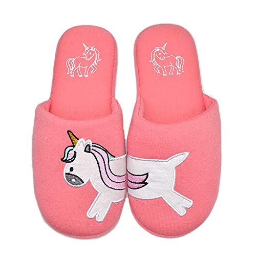 Woman House Shoes Dachshund Dog Cotton Animal Slippers Indoor Comfy Bedroom Slipper Unicorn Slippers for Adult (Women US 9-10, Rust Red Unicorn)