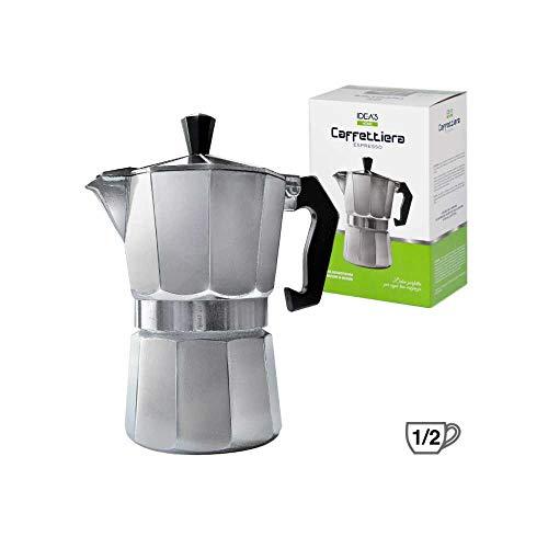 GIRM® - HX906843 Caffettiera in alluminio - 1/2 tazza (mezza tazza) - Moka per caffè espresso napoletano - Macchinetta del caffè