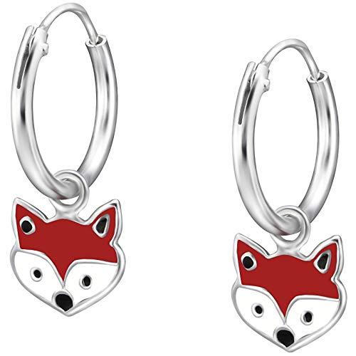 JAYARE Ohrringe Mädchen Fuchs Füchse 925 Sterling Silber rot Kinder Creolen