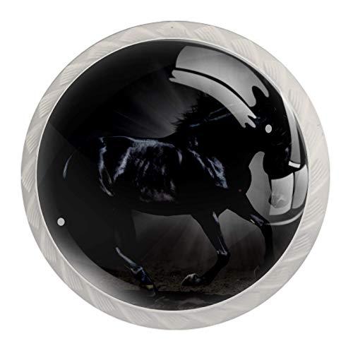 Caballo negro corriendo (2) 4 Piezas Perilla del Cajón del Gabinete,Mango de un Solo Orificio/Tirador de Puerta de Armario,Decoración del Hogar de Gabinete y Decoración del Hogar