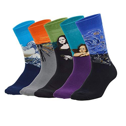 Sporzin Calcetines Hombres Señoras Multicolor Calcetines de peluche estampados coloridos 4/5 Par de calcetines divertidos Calcetines térmicos de algodón para deportes (Pintura, 40-46)