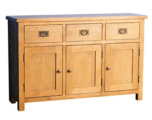 Surrey Oak Large Sideboard | Traditional Rustic Waxed Solid Wood 3 Drawer 3 Door Sideboard Storage Cabinet for Living Room or Dining Room, Fully Assembled