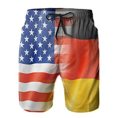 Olverz Herren Strand Badehose Deutschland und Amerikanische Flaggen Quick Dry Kordelzug Strandshorts mit Taschen Gr. M, weiß