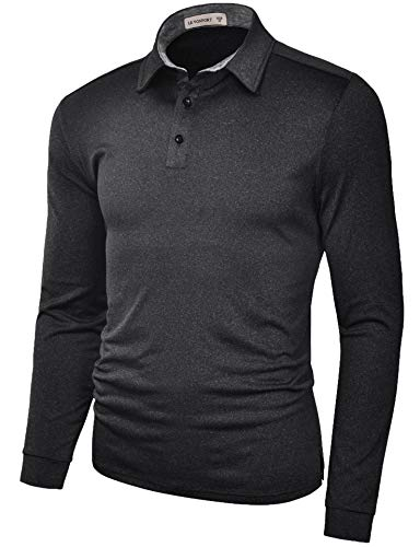 Moisture Wicking Long Sleeve Shirts for Men Dry Fit Polo Golf Athletic T Shirt Black X-Large