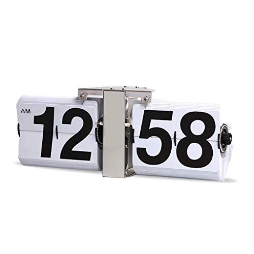 zunruishop Reloj de Escritorio Clásico Automático Flip Clock Big Flip Clock Escritorio Salón Decoración de Escritorio también se Puede Utilizar como Reloj de Pared Reloj (Color : White)