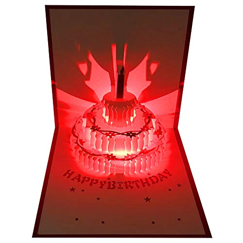 3D Pop Up Birthday Cards,Red LED Light Birthday Cake Music Happy Birthday Card Postcards Pop Up Greeting Cards Laser Cut Happy Birthday Cards Best for Mom,Wife,Sister, Boy,Girl,Friends 1 Pack