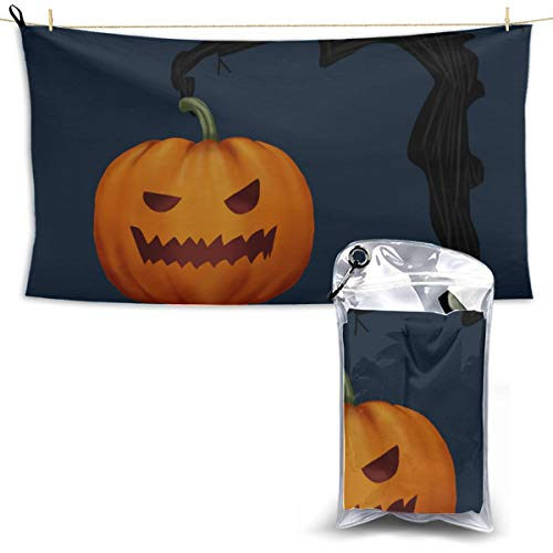 Cute Cartoon Pumpkin Towel Quick Drying Toddler Camp Towel Kitchen Towels for Camping Thin Travel Towel 27.5'' X 51''(70130cm) Best for Gym Travel Camp Yoga Fitnes