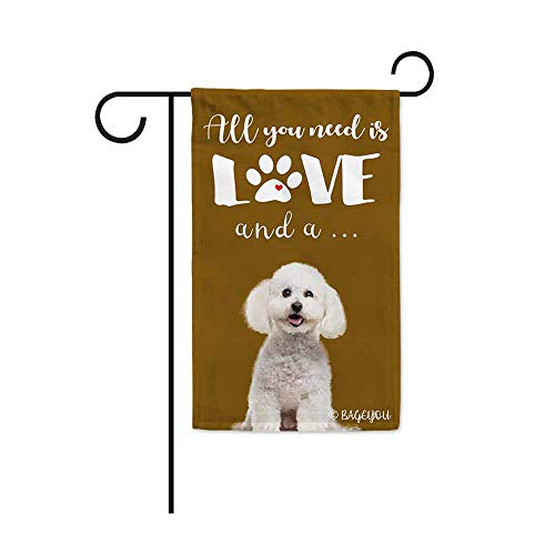 BAGEYOU All You Need is Love and a Dog Bichon Frise Decorative Garden Flag for Outside Cute Puppy Paws Brown Background 12.5X18 Inch Printed Double Sided
