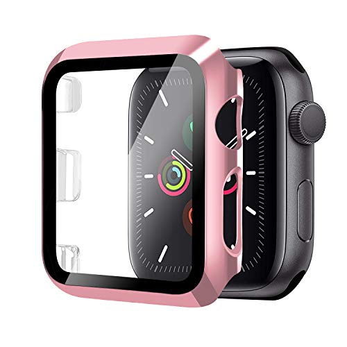 Funda para Apple Watch 42mm Serie 3/2/1+Cristal Templado, Qianyou PC Case y Vidrio Protector Pantalla Integrados, Anti-Rasguños Slim Bumper Case Cover para iWatch 42mm 1/2/3 (Rosa)