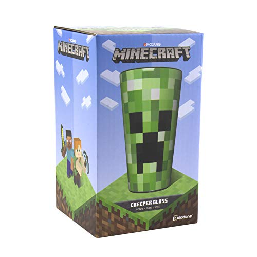 Paladone PP6729MCF Pixelated Creeper Glas | Trinkbecher 450 ml | perfekte Idee für Minecraft Fans