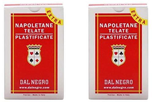Dal Napoletane - Carte da gioco regionali italiane, confezione da 2, colore: Rosso