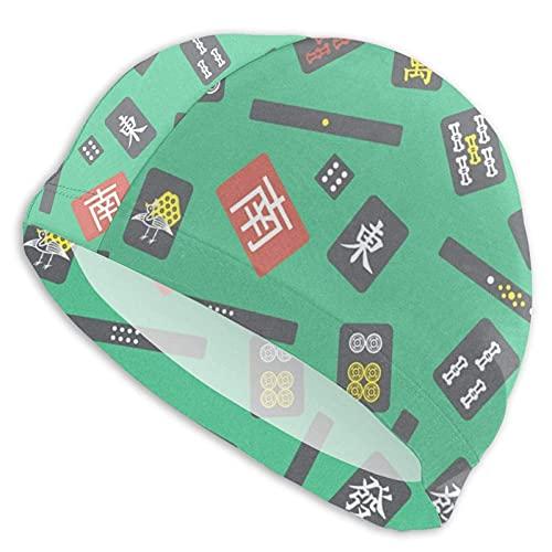 Hdadwy Gorras de natación para mujer Mahjong Majiang Azulejos verde gorro de natación para nadar largo pelo corto para mantener el cabello seco adulto gorro de natación deportes acuáticos Spandex