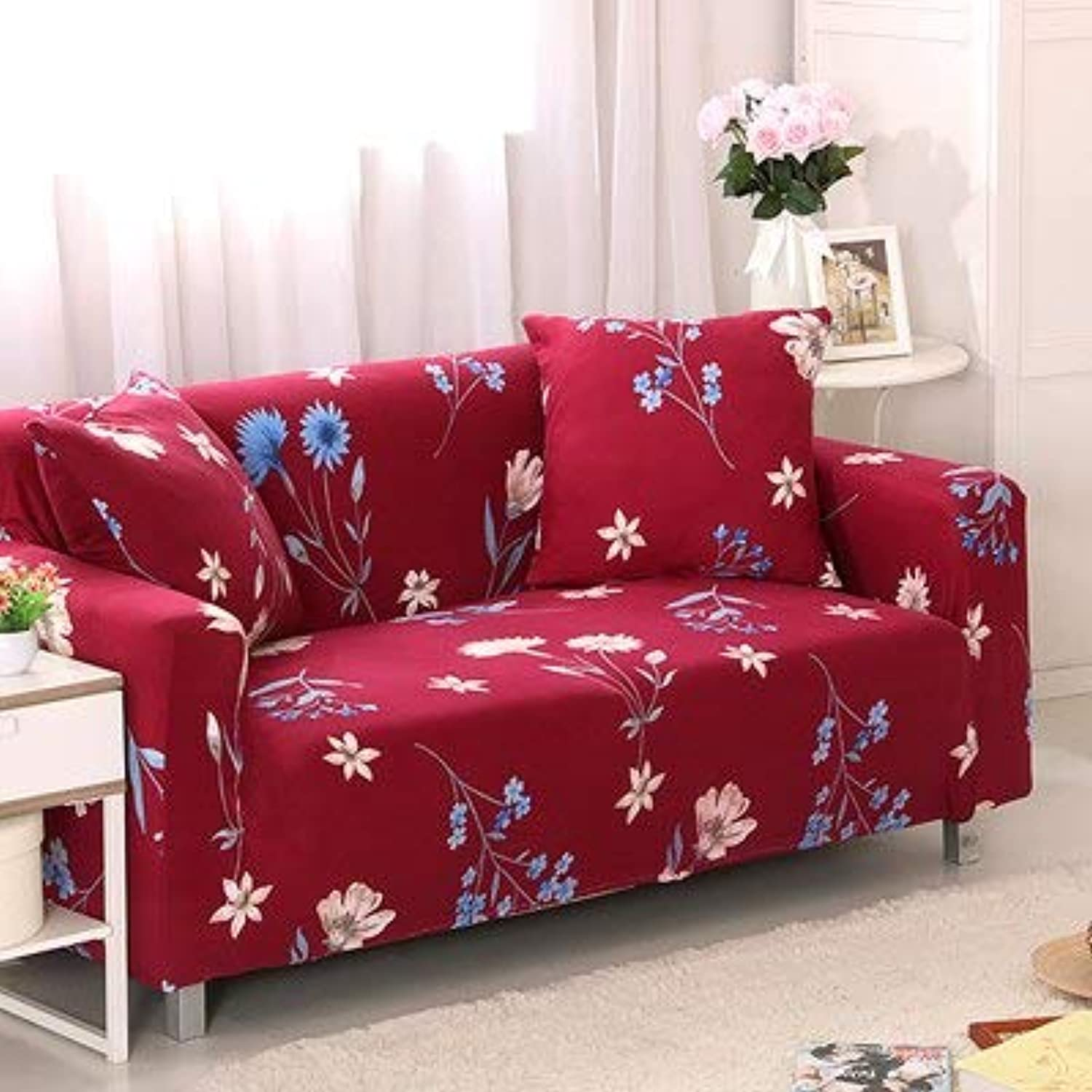 PlenTree Leaves Pattern Sofa Covers Elastic Stretch Universal Sectional Throw Couch Corner Cover Cases for Furniture Armchairs Home Deco  10, Single seat Sofa