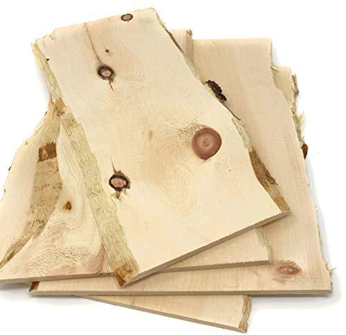 4-5 Zirbe Brettchen, Set 0,2qm, gehobelte Zirbenbretter aus Zirbenholz mit Baumkante ca. 10mm stark, ideal zum Basteln, als Deko, Schneidebrett, DIY